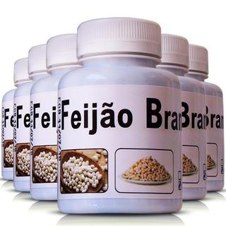 Kit 6 Potes Feijão Branco 500mg 100 Cápsulas Ervas Brasilis