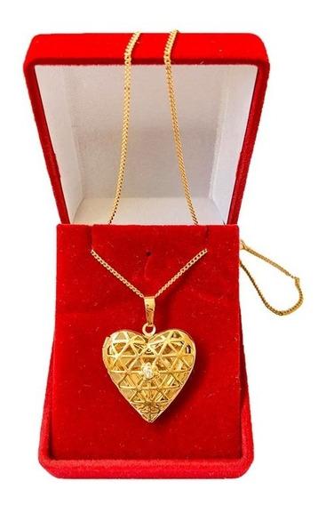 Colar Com Pingente Coração Relicário 18k Banho Ouro U7 Gold