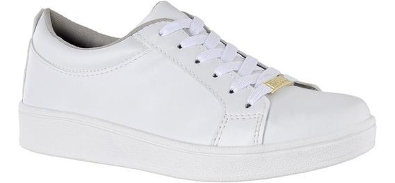 Tênis Feminino Branco Dourado Street Casual Oferta Primavera