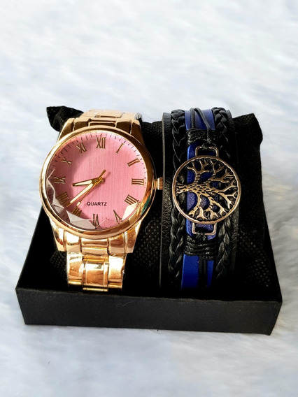 Relógio Feminino Dourado Numero Romano + Pulseira Arvore Vid