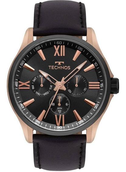 Relógio Technos Couro Masculino Multifunção Preto 6p29ajw/8p