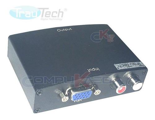 Imagen 1 de 5 de Conversor De Vga A Hdmi Trautech Pc Laptop Vga A Tv Hd Hdmi