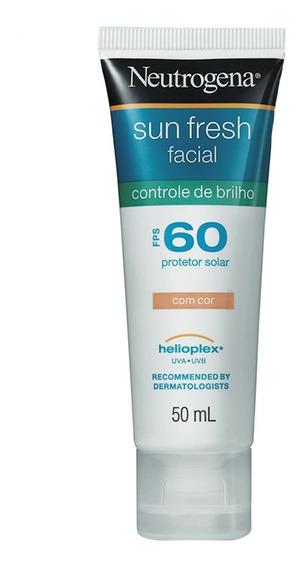 Protetor Solar Facial Com Cor Neutrogena - Sun Fresh Controle De Brilho Fps 60 50ml