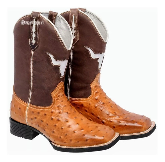 Bota Texana Masculina Marconi Replica De Avestruz Couro