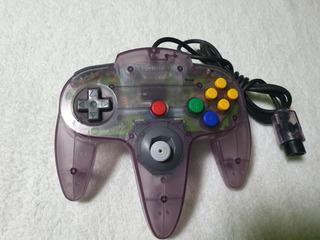Control Nintendo 64 Morado Traslúcido Original.