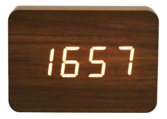 Reloj Despertador Digital De Madera Luz Led Decoración
