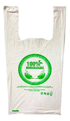 Bolsa Biodegradable 100%, Tipo Camiseta 40x50cm (100 Unids)