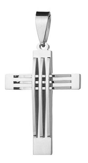Pingente Masculino Cruz Crucifixo Grande B-1884 Aço Inox