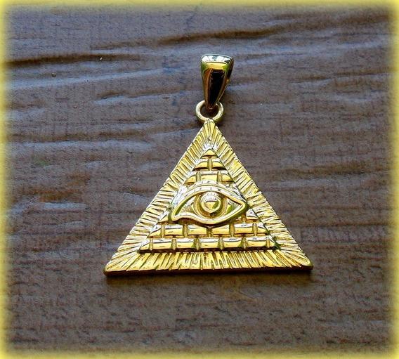 Pingente Maçônico Illuminati Triangulo Horus- Prata Ouro 18k