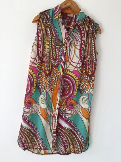 Camisa Camisola Tipo Seda Larga Motivo Búlgaro N M D