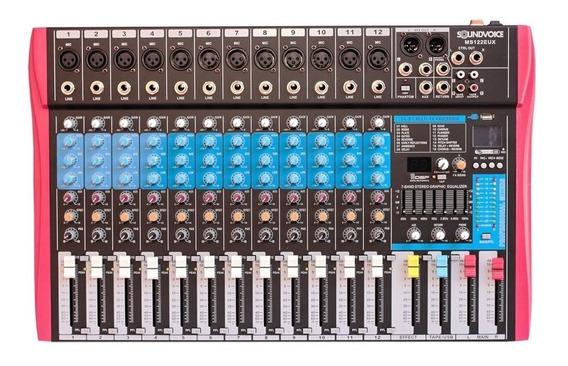 Mesa De Som Soundvoice Ms-122 12 Canais Xlr E P10 Eux E Usb