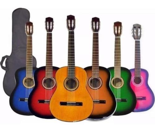 Imagen 1 de 3 de Guitarra Criolla De Estudio Varios Colores Con Funda Oferta!