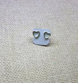 Brinco De Prata Em Formato De Coração Simples
