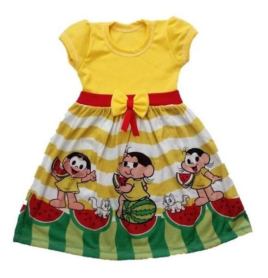 Vestido Infantil Magali Turma Da Mônica Malha Roupa/fantasia
