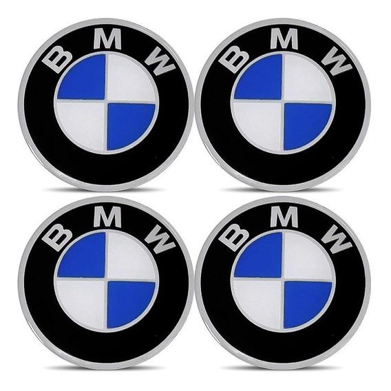 Jogo 4 Emblema Logo Adesivo Roda Bmw 58mm