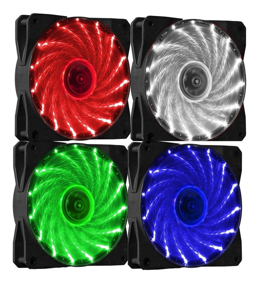 Cooler Fan 120mm (12cm) C/15 Leds Vermelho Azul Ou Verde