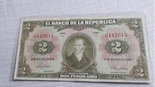 Imagen 1 de 2 de Billete De 2 Pesos De 1955 Con 7 Digitos