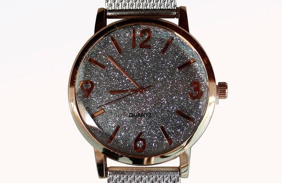 Relógio Feminino Prata Brilho Barato Luxo
