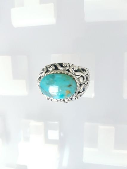 Anel Prata 925 Quilates Pedra Preciosa Turquesa 3,0 Ct Linda
