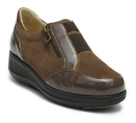 Zapatos Clinicus 9066 Damas Gamuza Con Charol Ancho Triple