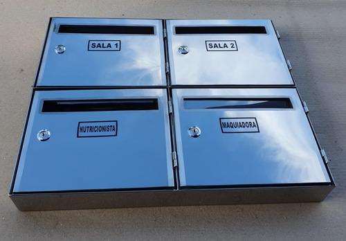 Caixa Correio Inox 304 Painel P/condomínio Com 4 Repartições