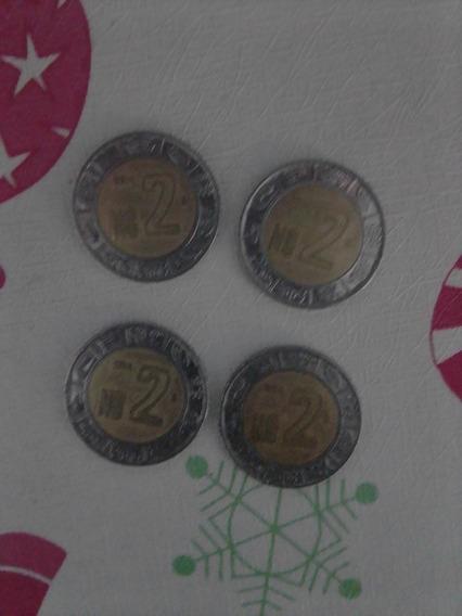 4 Monedas De 2 Pesos Mexicanos Con Ns