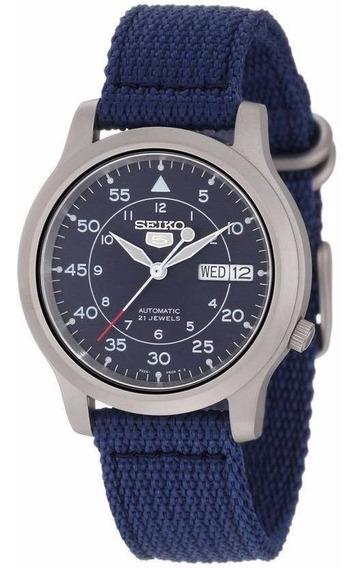 Reloj Seiko 5 Automático 21 Jewels Canvas Azul Snk807