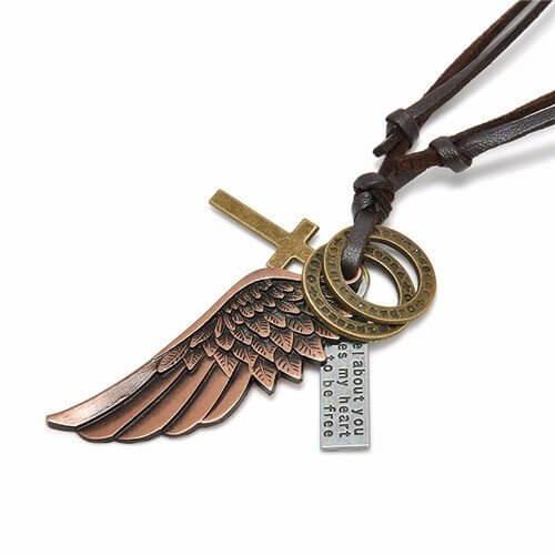 Colar Masculino De Couro Escuro Asa De Anjo Bronze Ajustável