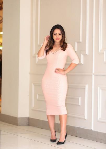 Vestido Midi Rosé Com Detalhes Em Tule