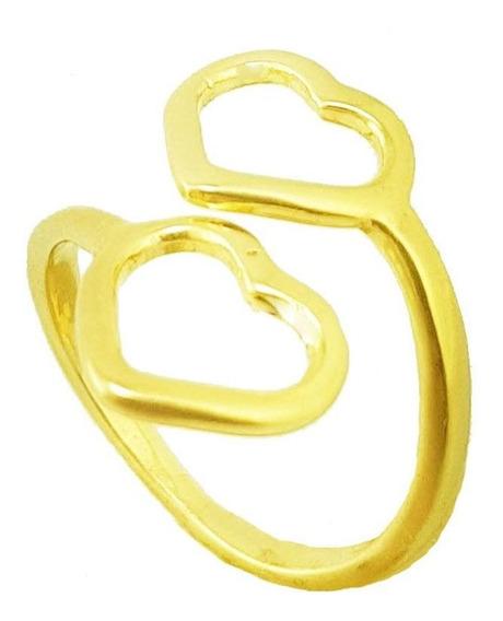 Anel Dois Corações Regulável Folheado A Ouro