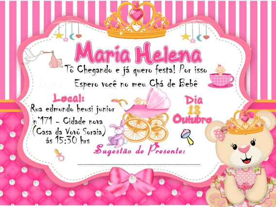 70 Convites Chá De Bebê C/ Frete Incluso