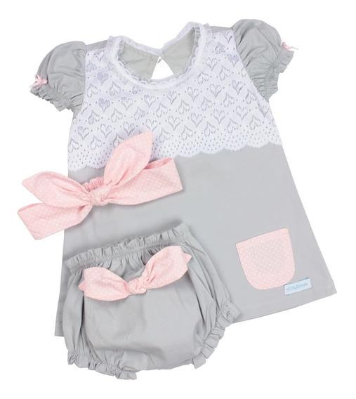 Kit Vestido Infantil Metoo Cinza