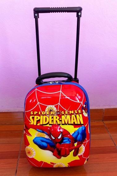 Mochila Con Carrito Kinder Preescolar Niños Spiderman