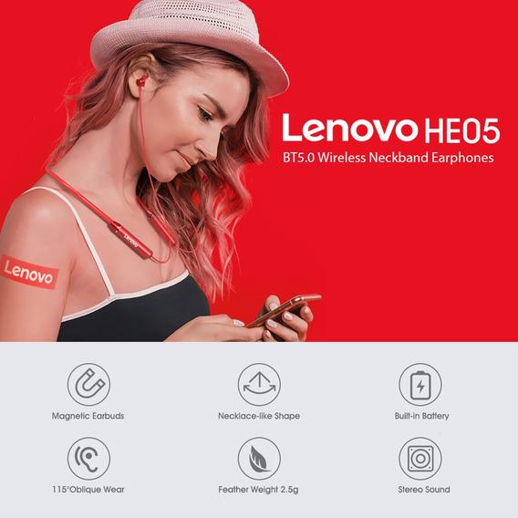Bluetooth 5.0 Magnético Neckband Fones De Ouvido Lenovo He0
