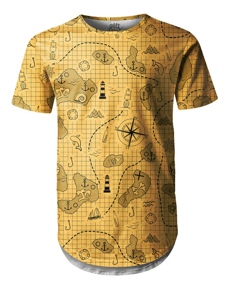 Camiseta Masculina Longline Swag Mapa Do Tesouro