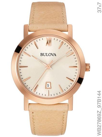 Relógio Bulova Feminino Couro Rosé Wb27869z