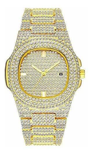 Unisex De Lujo Completo Diamante Relojes Plata/oro Moda Cuar