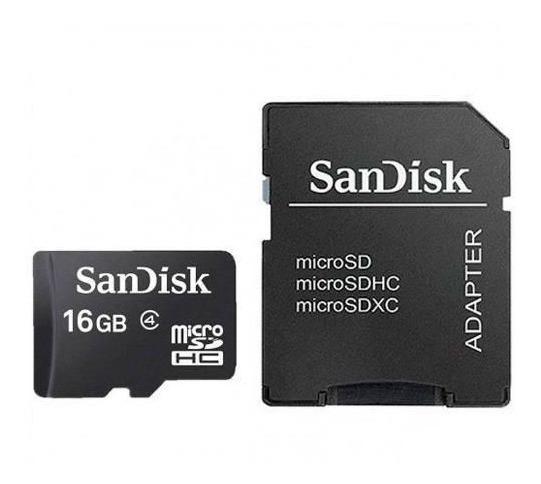 Cartão Memória Micro Sd 16gb Sandisk Câmeras Smartphones Tf