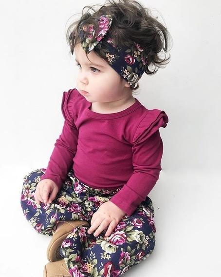 Vestido Romper Pantalon + Bandita Flores Para Bebe Niña 3pz