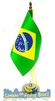Bandeira Do Brasil C/ Mastro Cromado 15cm Souvenir Presente