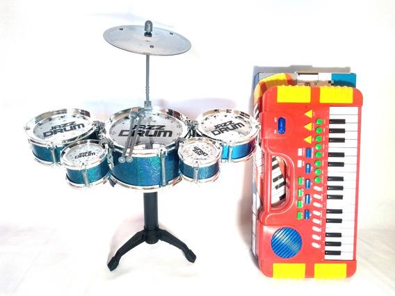 Kit Mini Bateria 5 Tambores Happy Jazz Drum + Mini Teclado