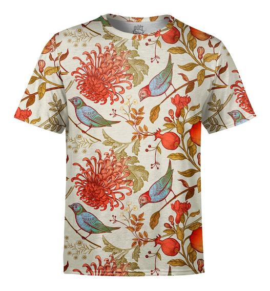 Camiseta Masculina Flor Crisântemo Pássaros Estampa Digital