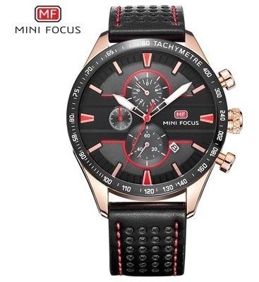 Relógio Mini Focus® Couro Cronógrafo/cronômetro 100% Funcion