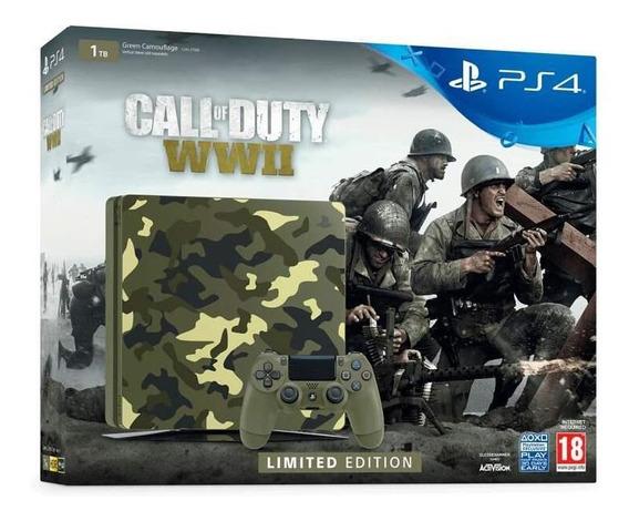 Playstation 4 Slim Edição Limitada Call Of Duty Wwii 1tb