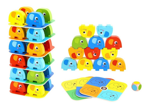 Juego Elefantes Apilables De Colores Tipo Yenga