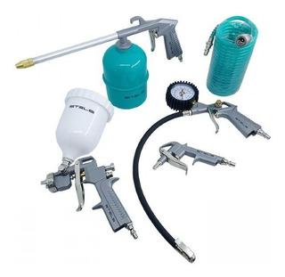 Kit Jogo Compressor 5 Acessórios Pistola Pintura Mangueira