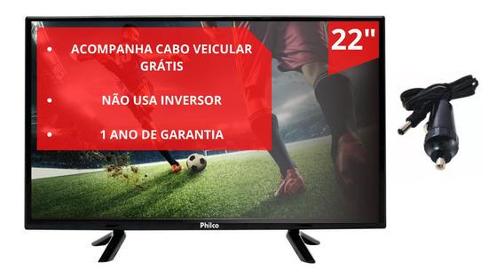 Tv Digital Led 22 Ptv22g50d - Bivolt Com Cabo 12v Nova Lacra