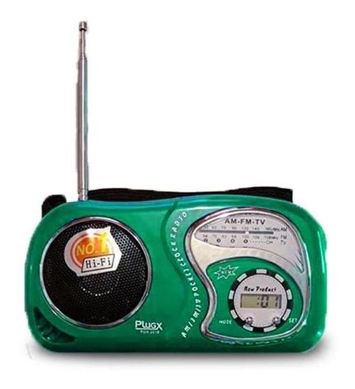 Rádio Am/fm Portátil Com Relógio Digital Pgx-2019 -verde