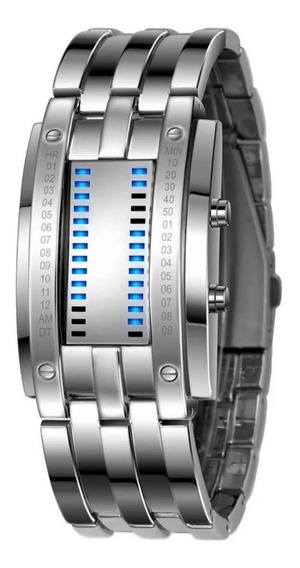 Relógio Masculno Prata Led Azul Digital Futurista Calendário