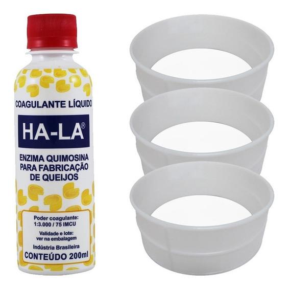 Coalho Líquido Ha-la 200ml + 3 Formas Queijo Canastra 1kg